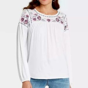 New Knox Rose Embroidered Knit Long Sleeve Shirt